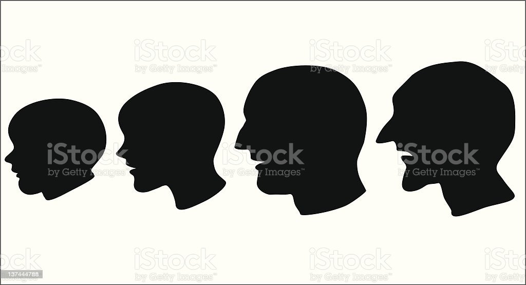 Aging faces - vector illustration royalty-free stock vector art