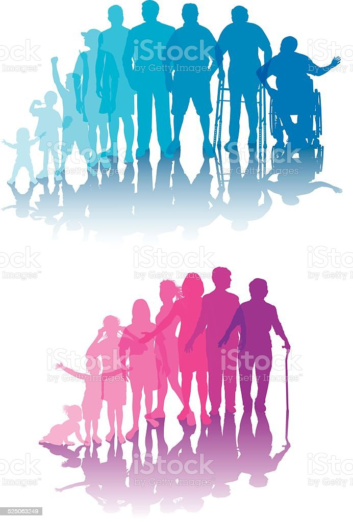Aging Process - Men and Women vector art illustration