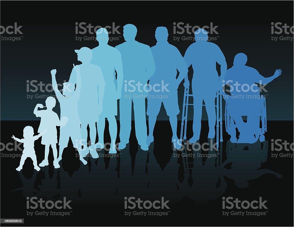Aging Process - Men Background vector art illustration