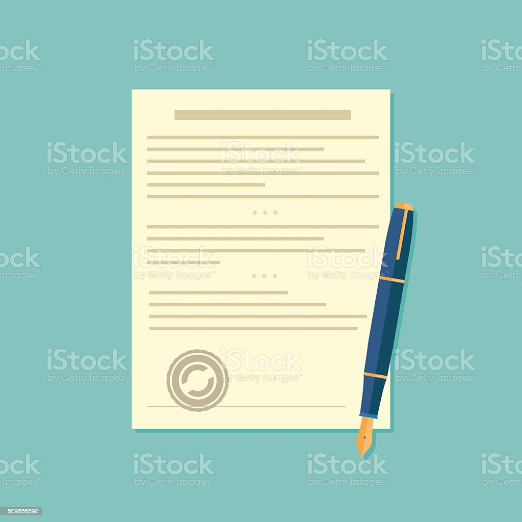 Agreement icon - signing contract vector art illustration