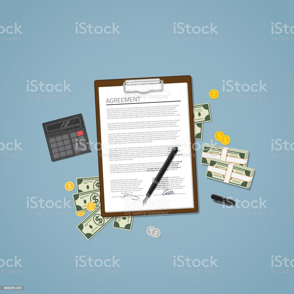 Agreement with money vector art illustration