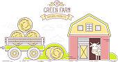 Agribusiness. Vector horizontal illustration of colorful farm life