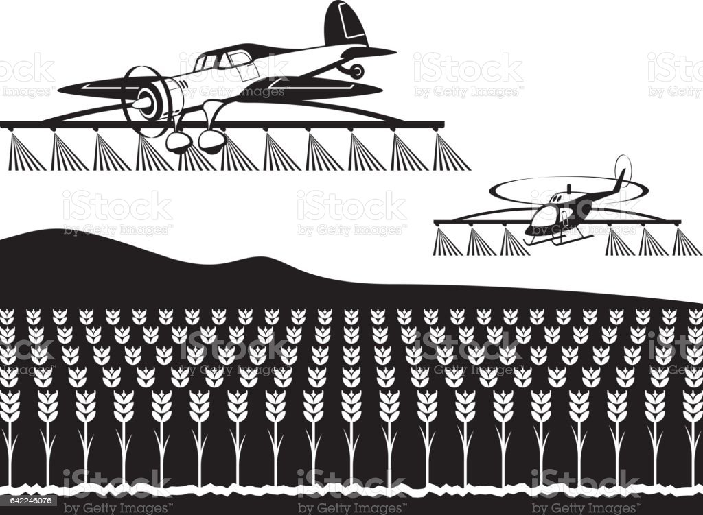 Agricultural aircraft and helicopter spray crops with fertilizers vector art illustration