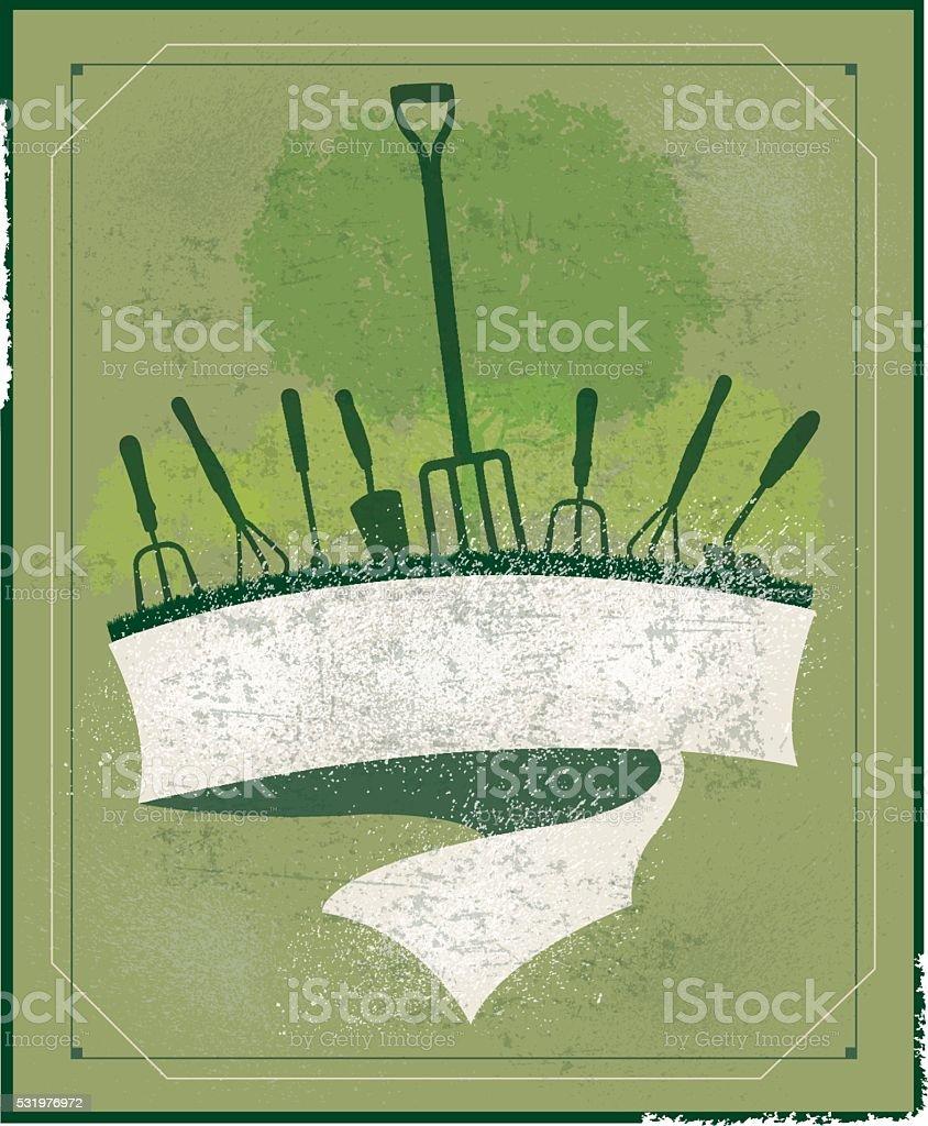 Agricultural Equipment - Garden Banner Background Grunge vector art illustration