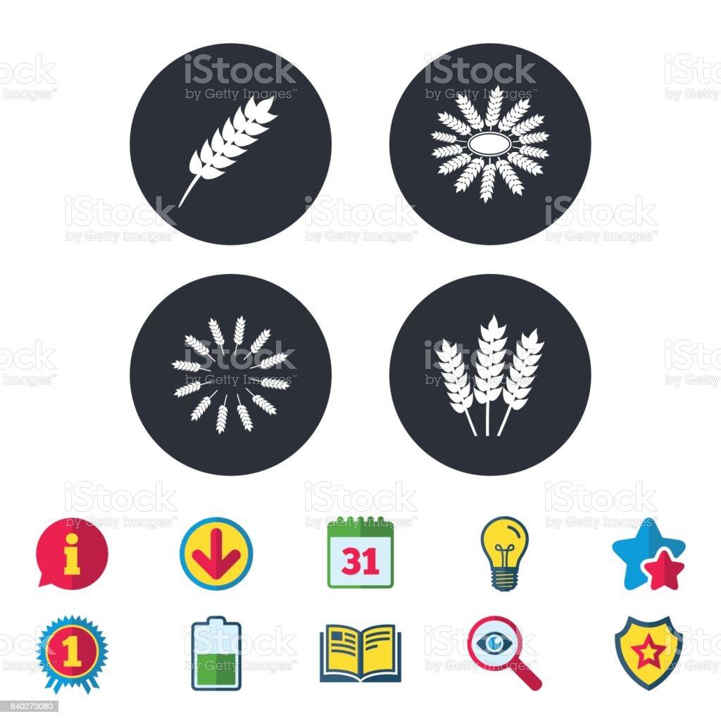 Agricultural icons. Gluten free symbols. vector art illustration