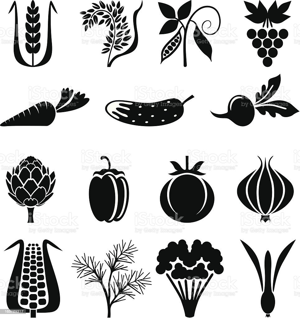 Agricultural icons set II vector art illustration