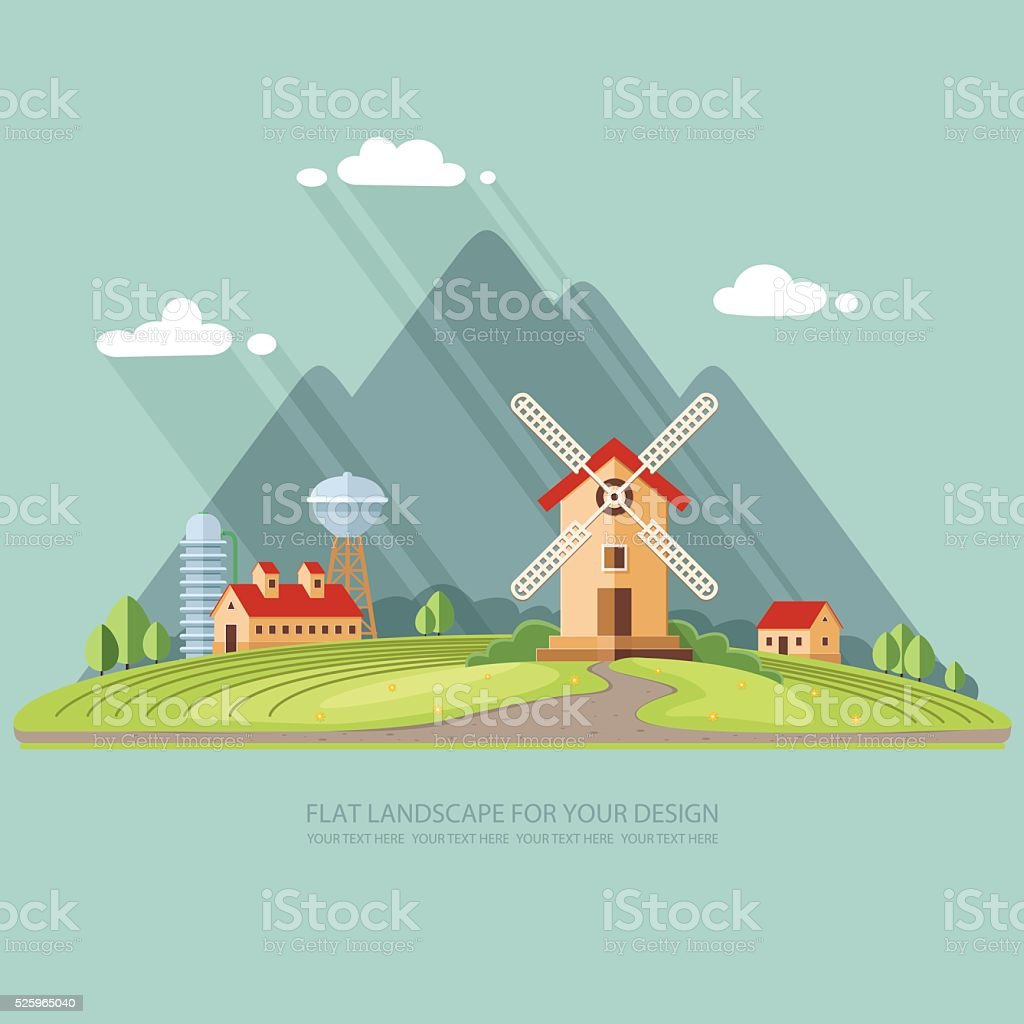 Agricultural industry, Agriculture mountains in the background. Flat design style vector art illustration