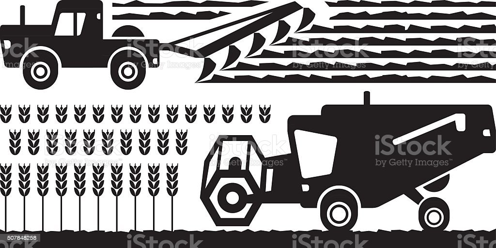 Agricultural machinery farm vector art illustration