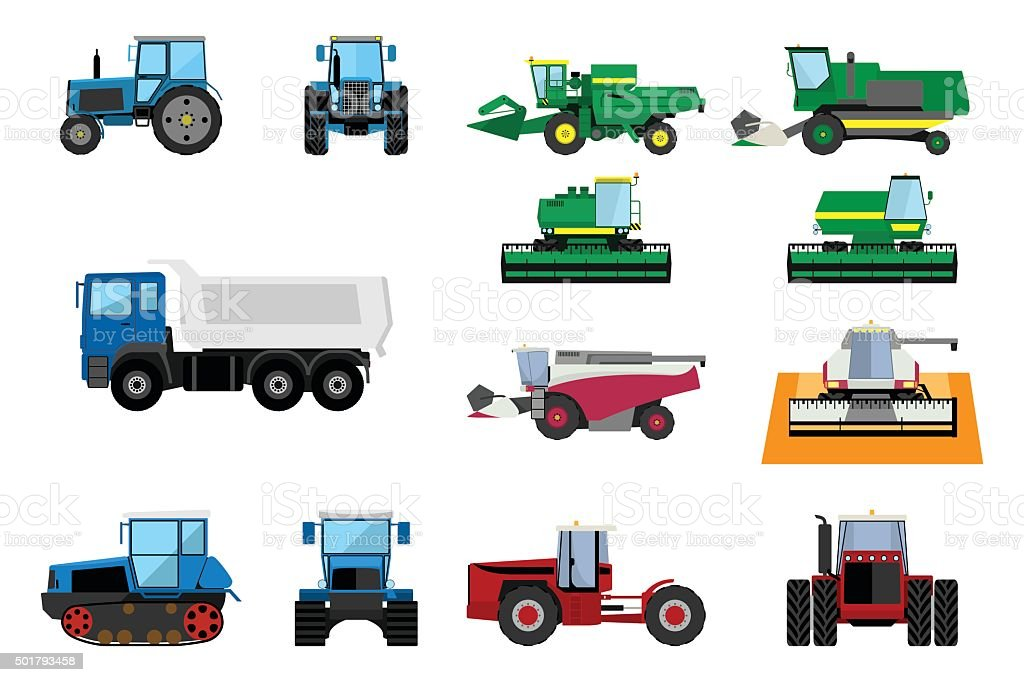 Agricultural machinery set vector art illustration