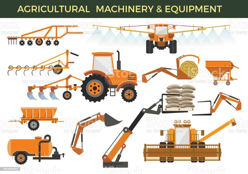 Agricultural machinery vector art illustration