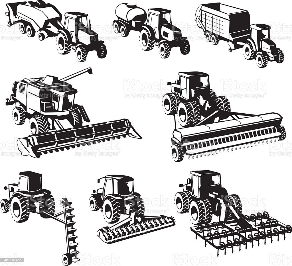 agricultural machines vector art illustration