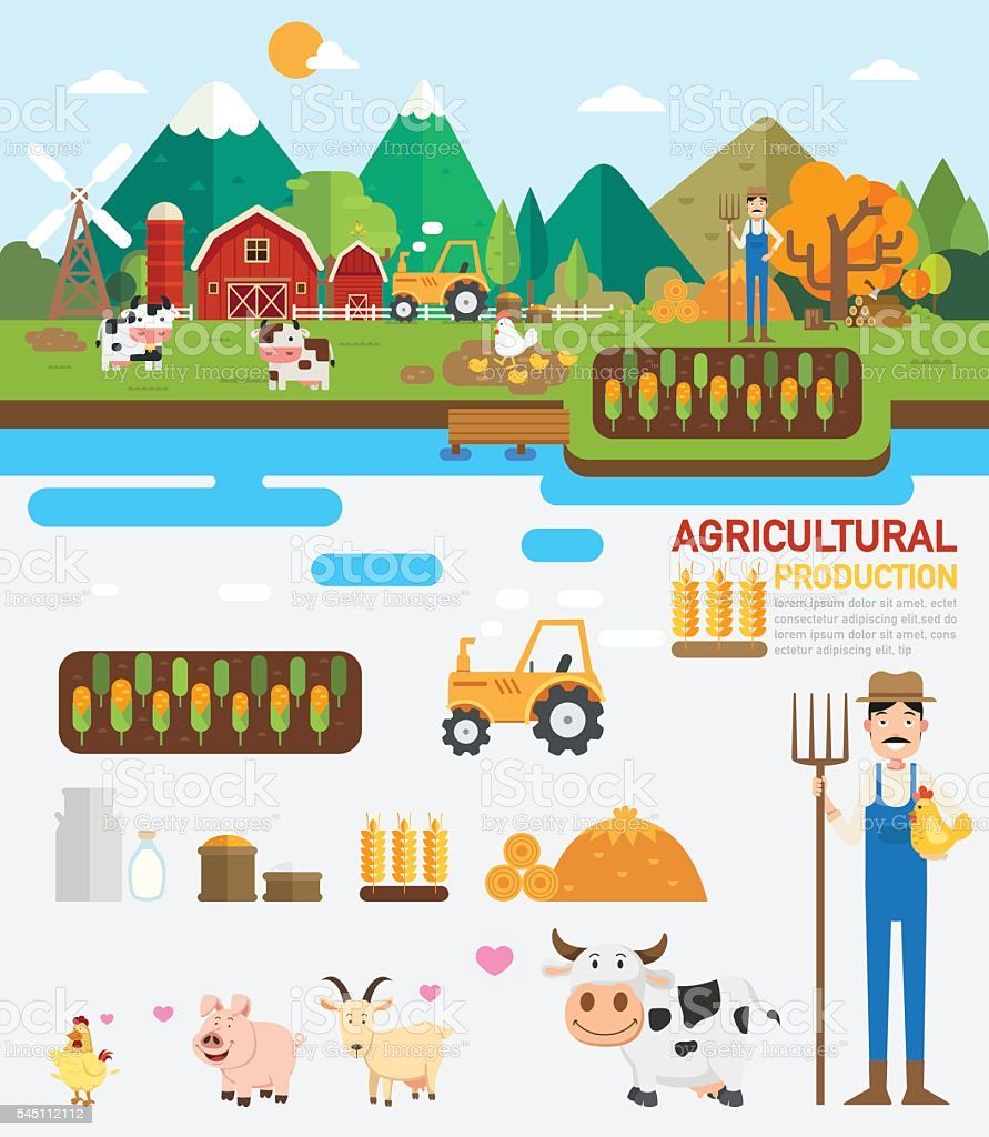Agricultural production infographic.vector vector art illustration