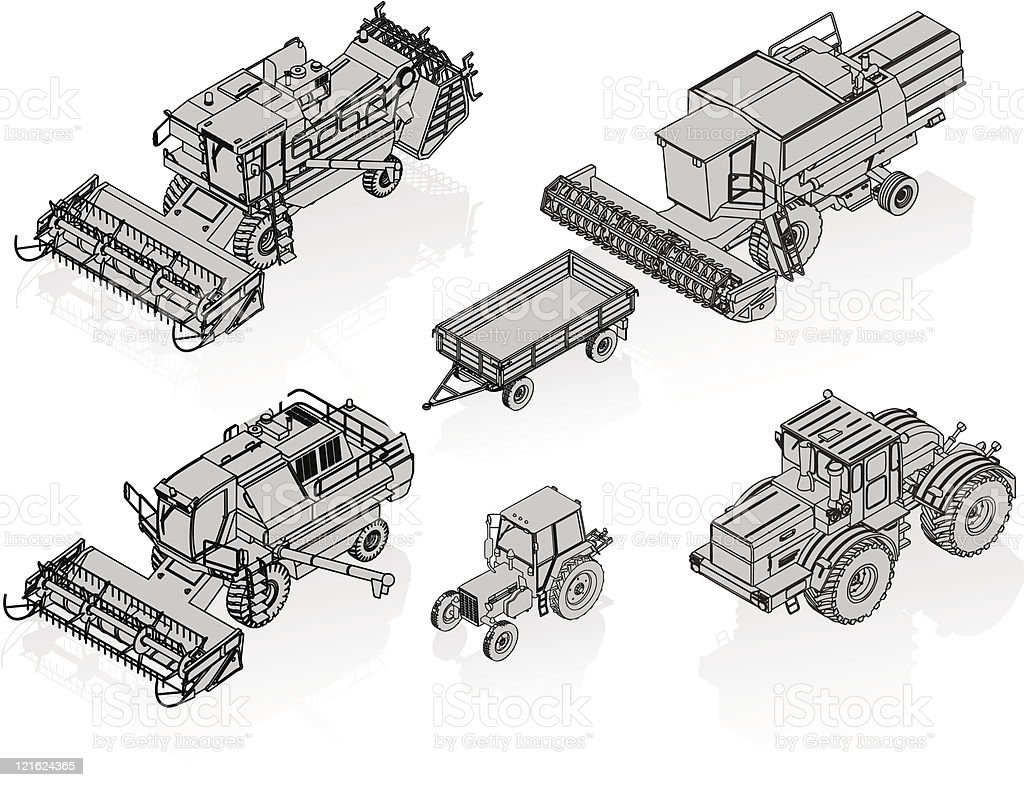 agricultural vehicles set royalty-free stock vector art