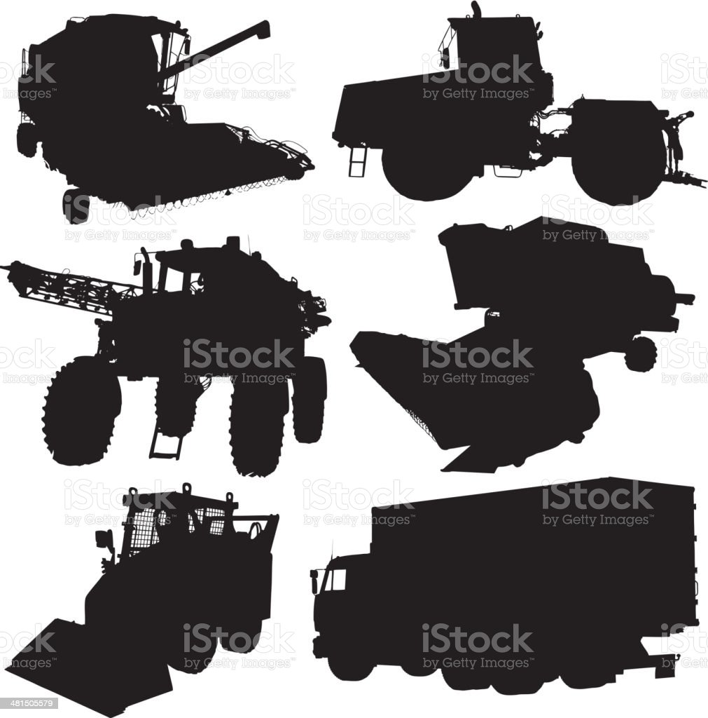 Agricultural vehicles silhouettes set. vector art illustration