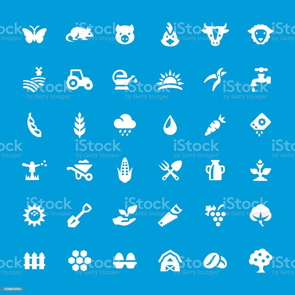 Agriculture and Farm vector icons set vector art illustration