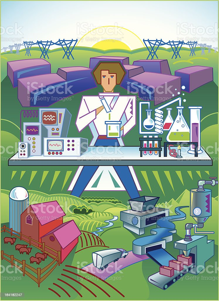 Agriculture, Chemistry and Technology royalty-free stock vector art