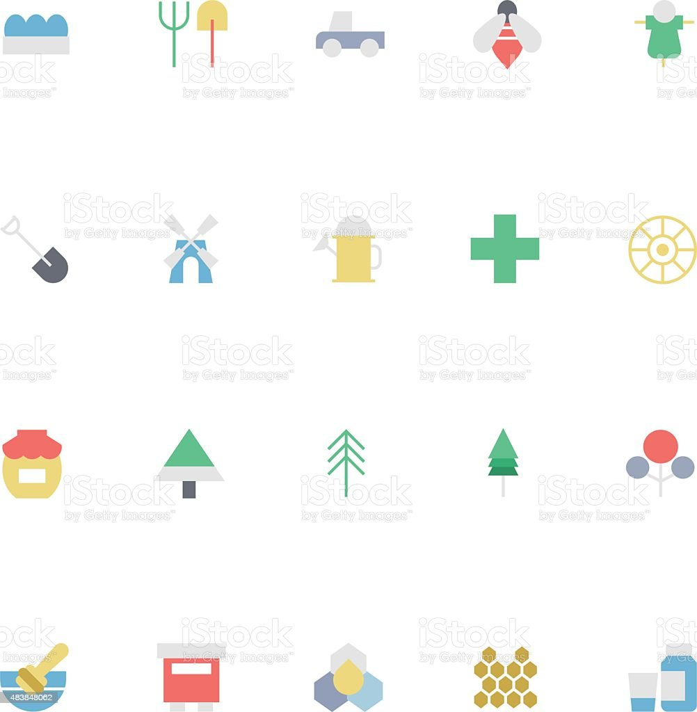 Agriculture Colored Vector Icons 3 vector art illustration