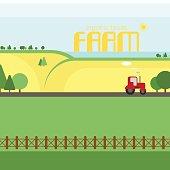 Agriculture. Farm, organic foods. Rural landscape. Design elements for graphic