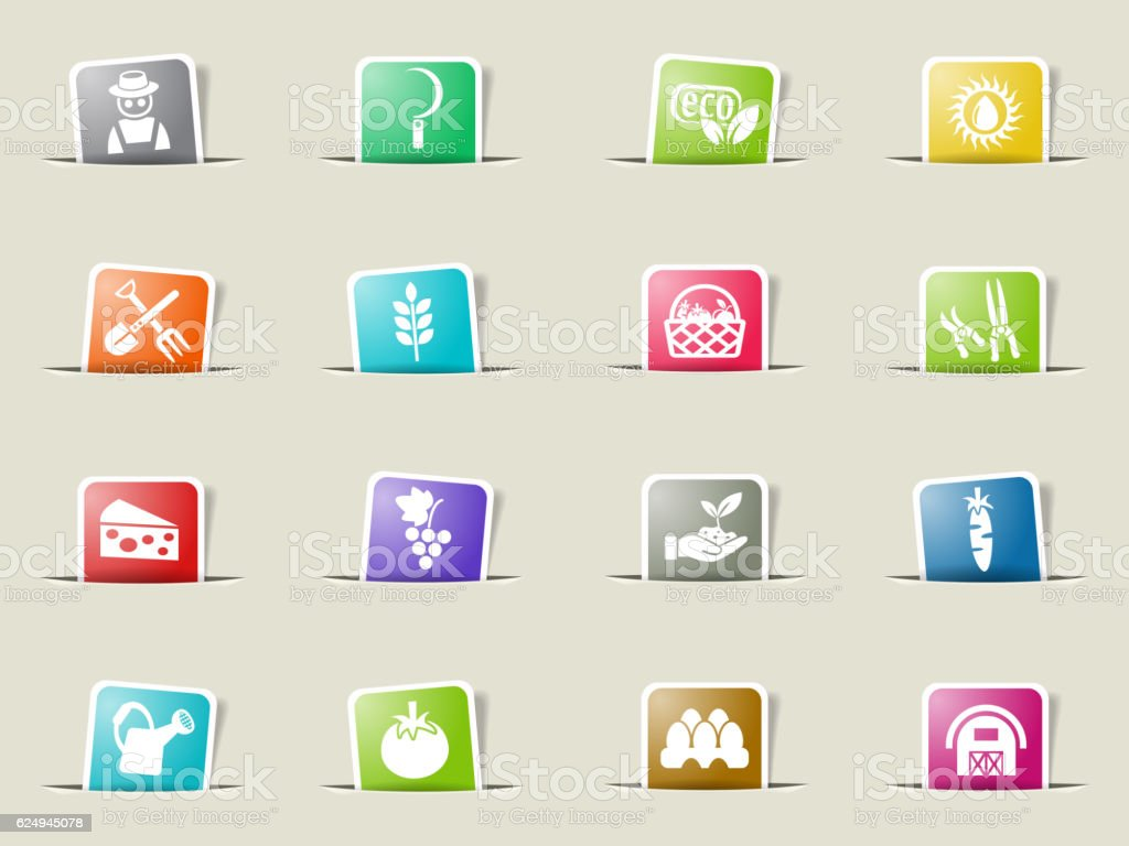 agriculture icon set vector art illustration
