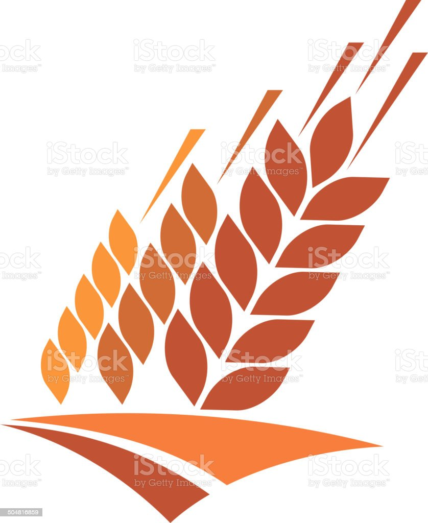 Agriculture icon with a field of golden wheat vector art illustration