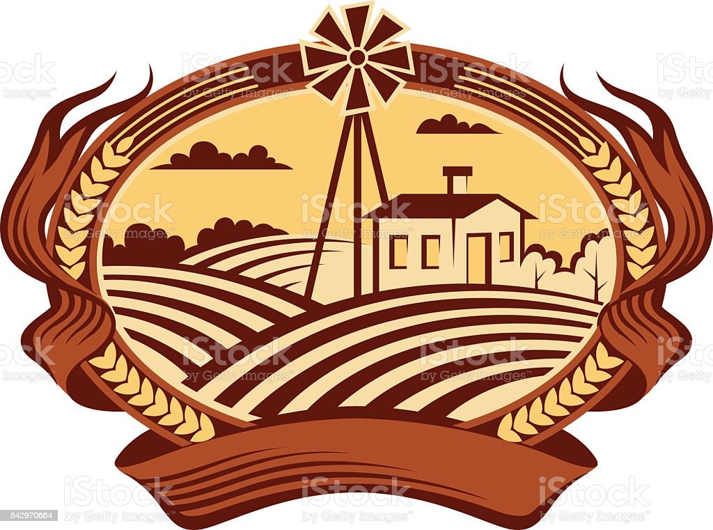 agriculture landscape icon vector art illustration