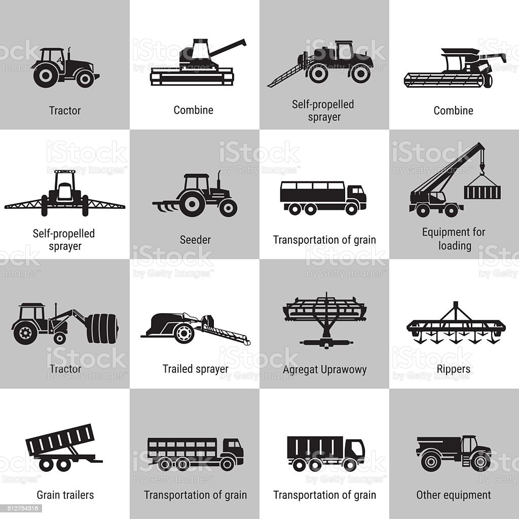 Agriculture Machinery Equipments vector art illustration