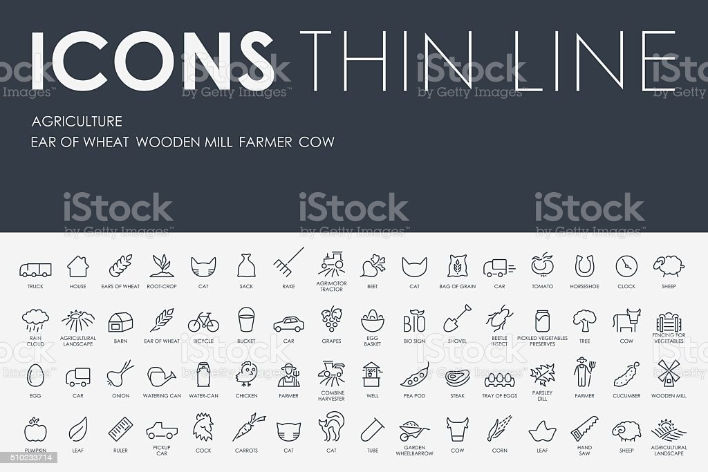 agriculture Thin Line Icons vector art illustration