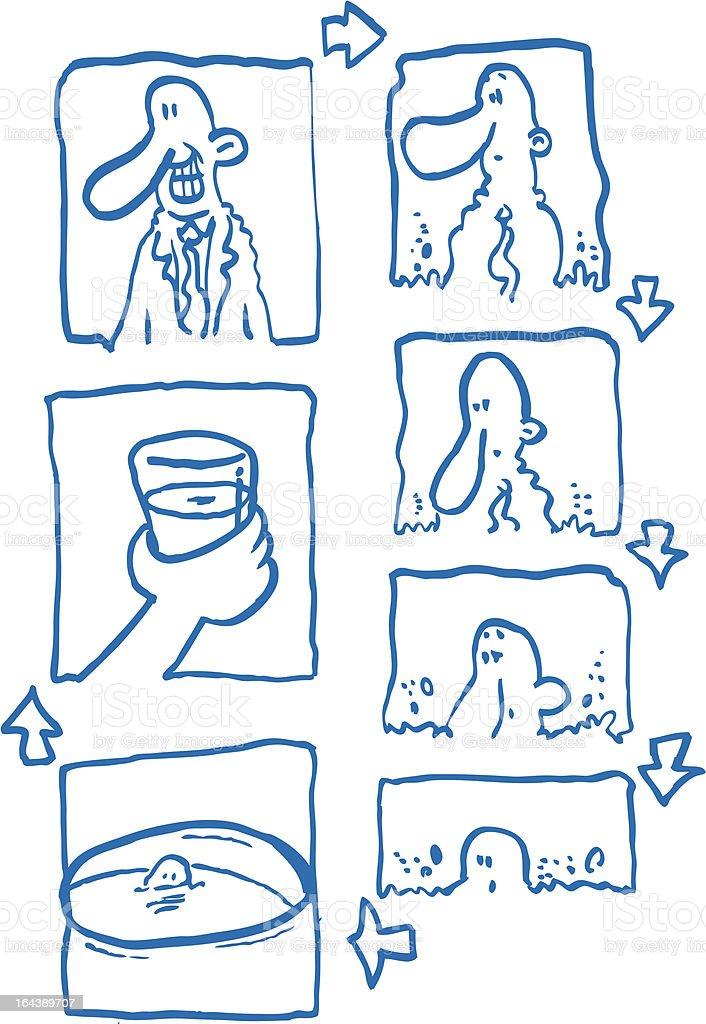 Ahogarse en un vaso de agua vector art illustration