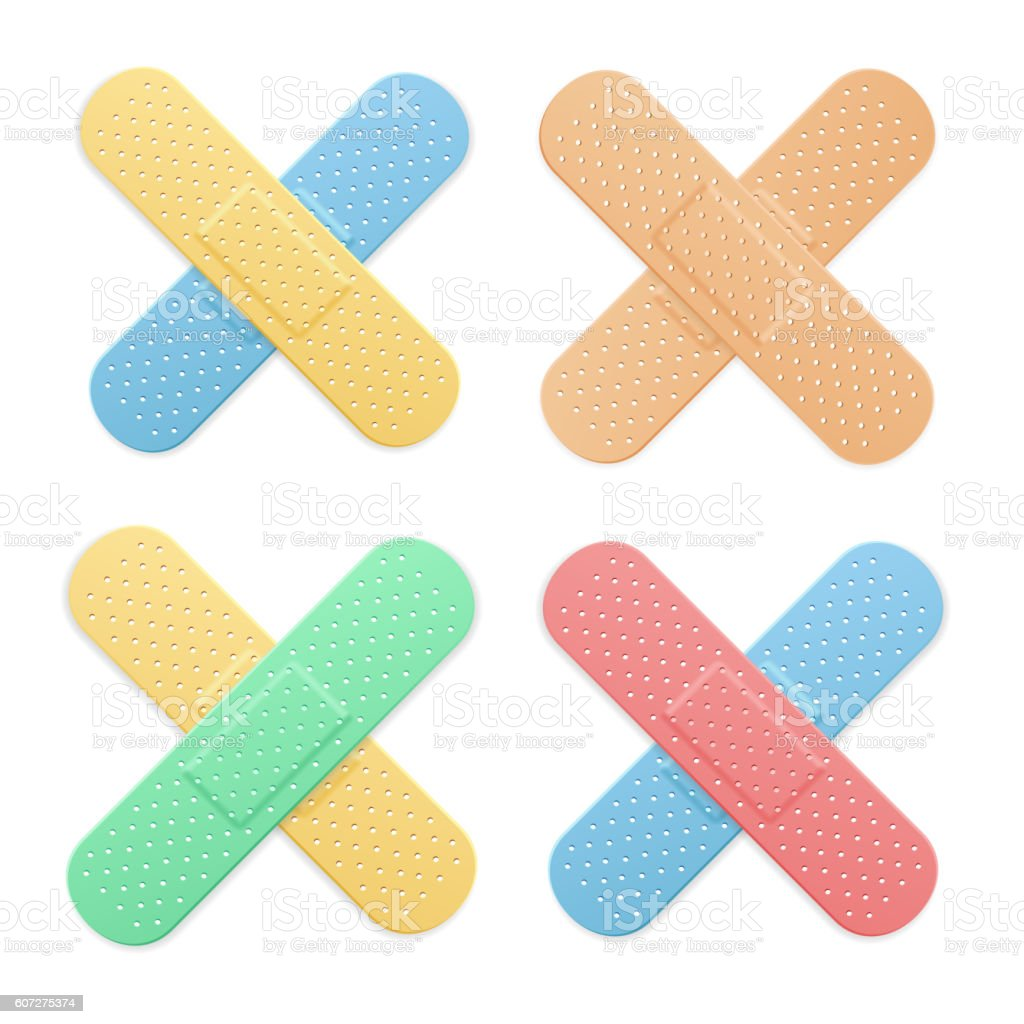 Aid Band Plaster Strip Medical Patch Color Cross Set. Vector vector art illustration