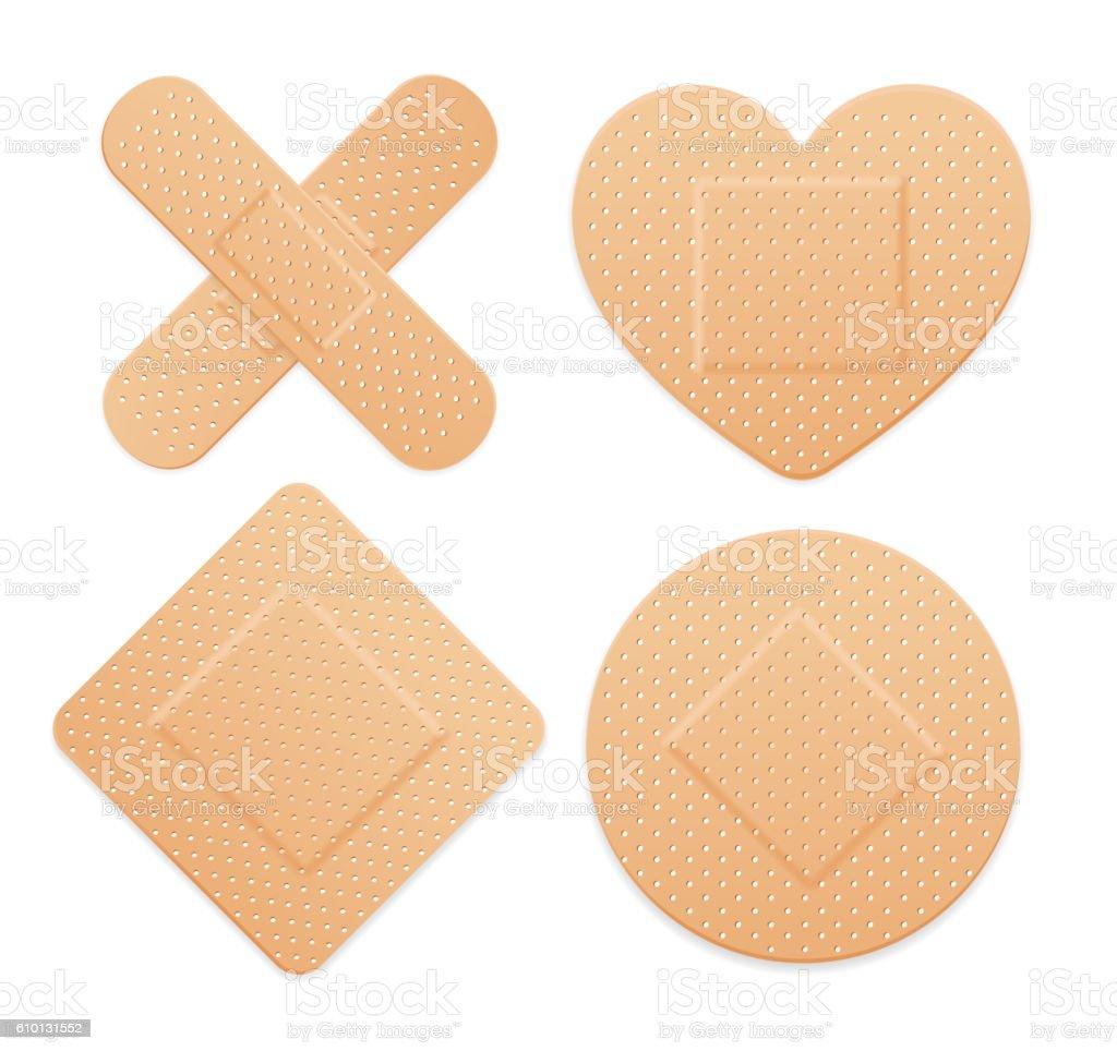 Aid Band Plaster Strip Medical Patch Set. Vector vector art illustration