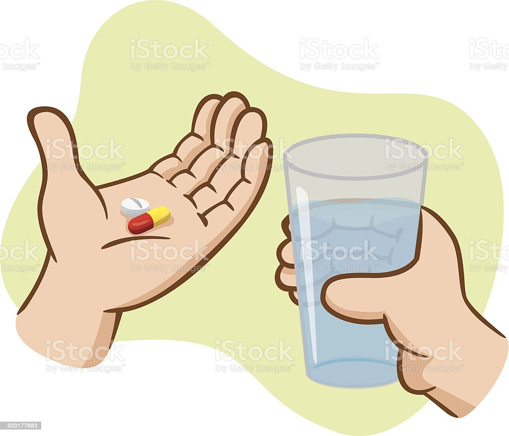 Aid First take medicine with water vector art illustration