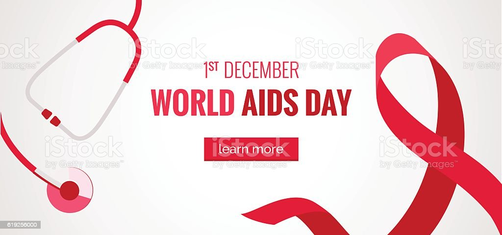 Aids awareness banner with stethoscope and red ribbon vector art illustration