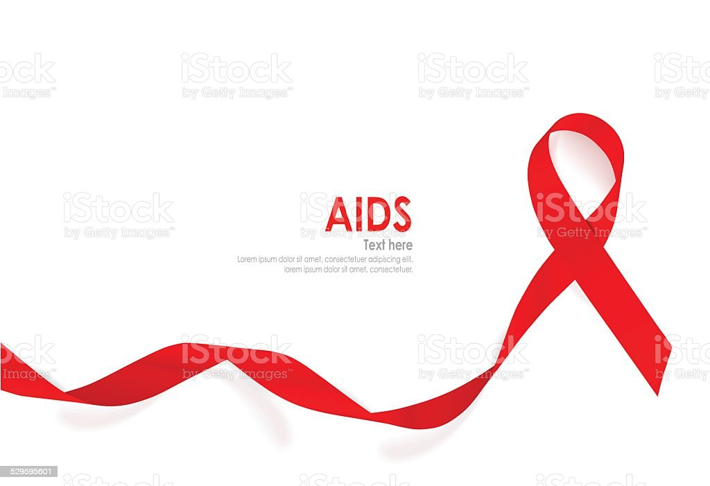 Aids Awareness Red heart Ribbon on white background. vector art illustration