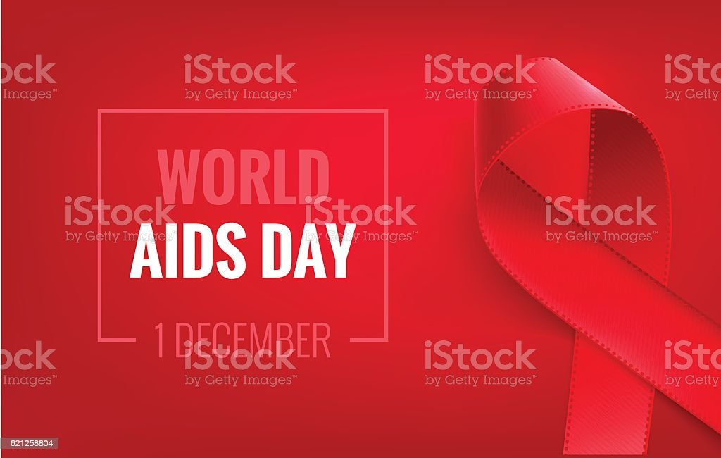 Aids awareness  Ribbon Background. 1 December - World aids day. vector art illustration