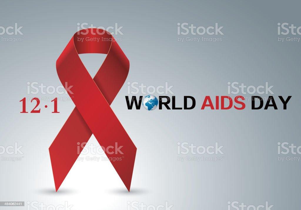 Aids red ribbon vector art illustration