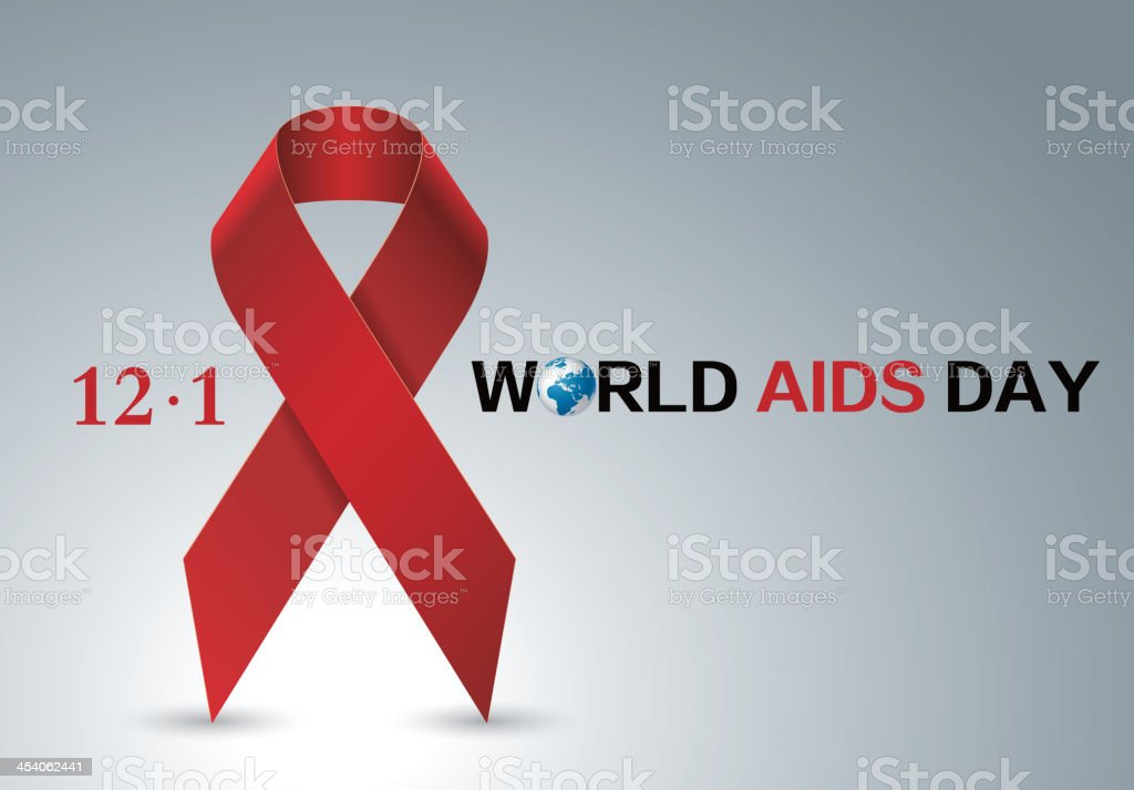 Aids red ribbon vector art illustration