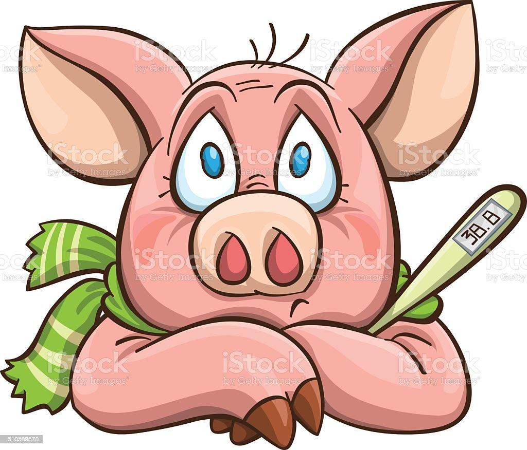 ailing cartoon pig vector art illustration