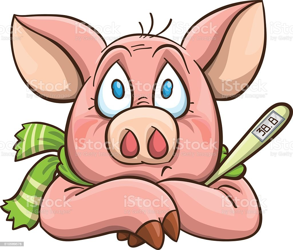 ailing cartoon pig vector art illustration