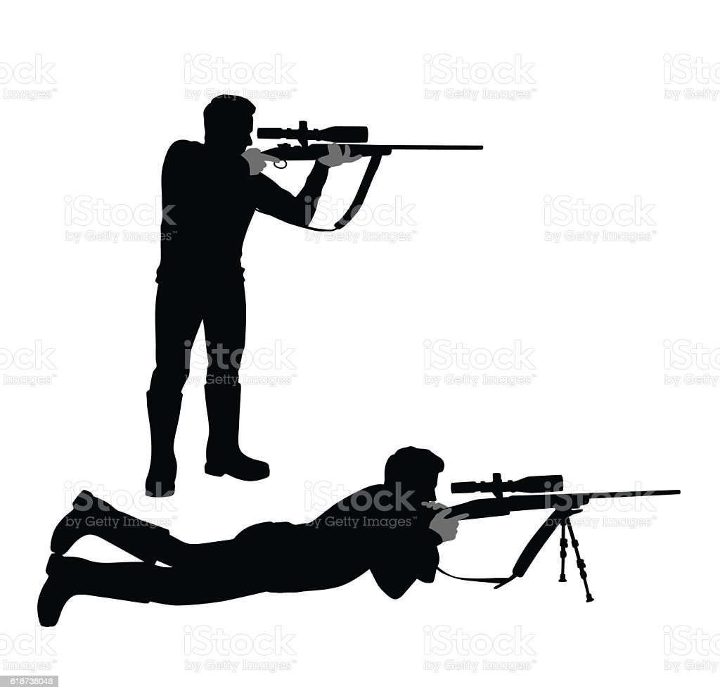 Aiming Hunter Silhouette vector art illustration