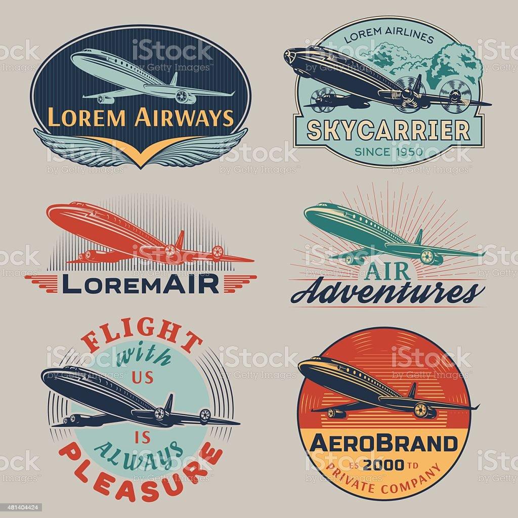 Air badges color vector art illustration