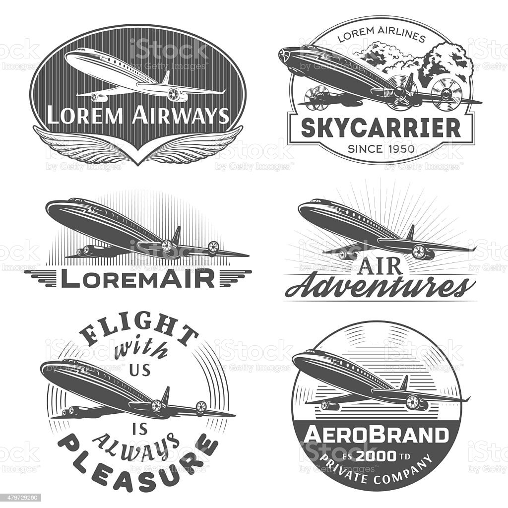 Air badges vector art illustration