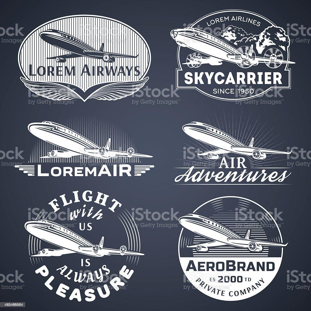 Air badges white vector art illustration