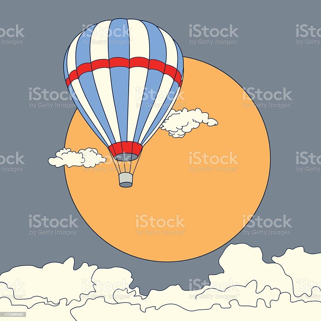 De ar quente voando em vetor de nuvens no pôr do sol vetor e ilustração royalty-free royalty-free