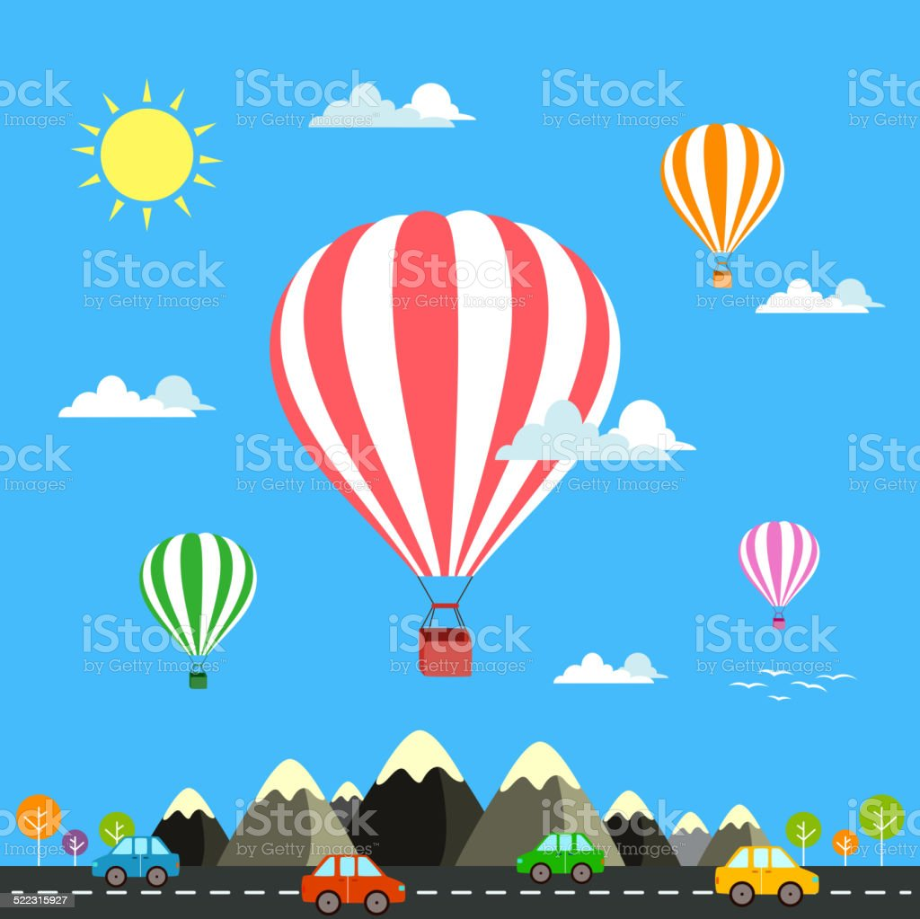 Air balloon flying over the mountain Icons of traveling vector art illustration