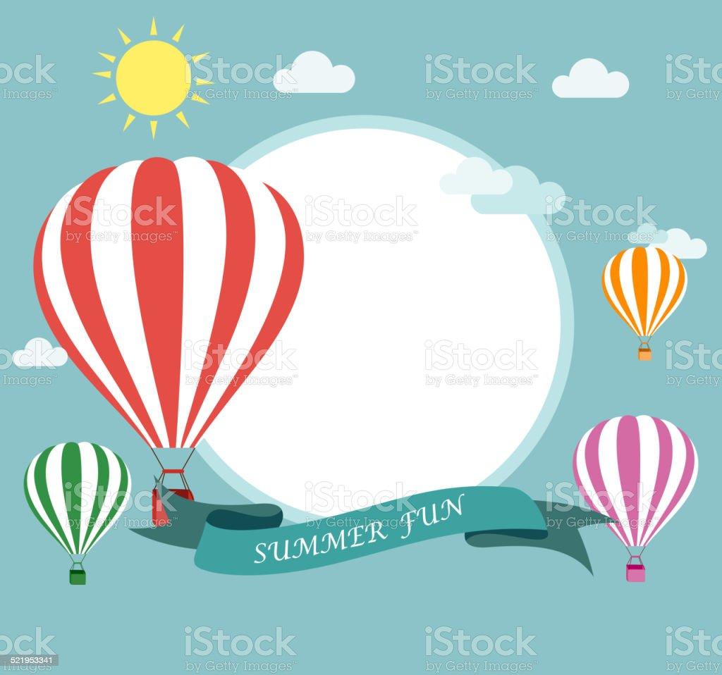 Air balloon flying vector art illustration