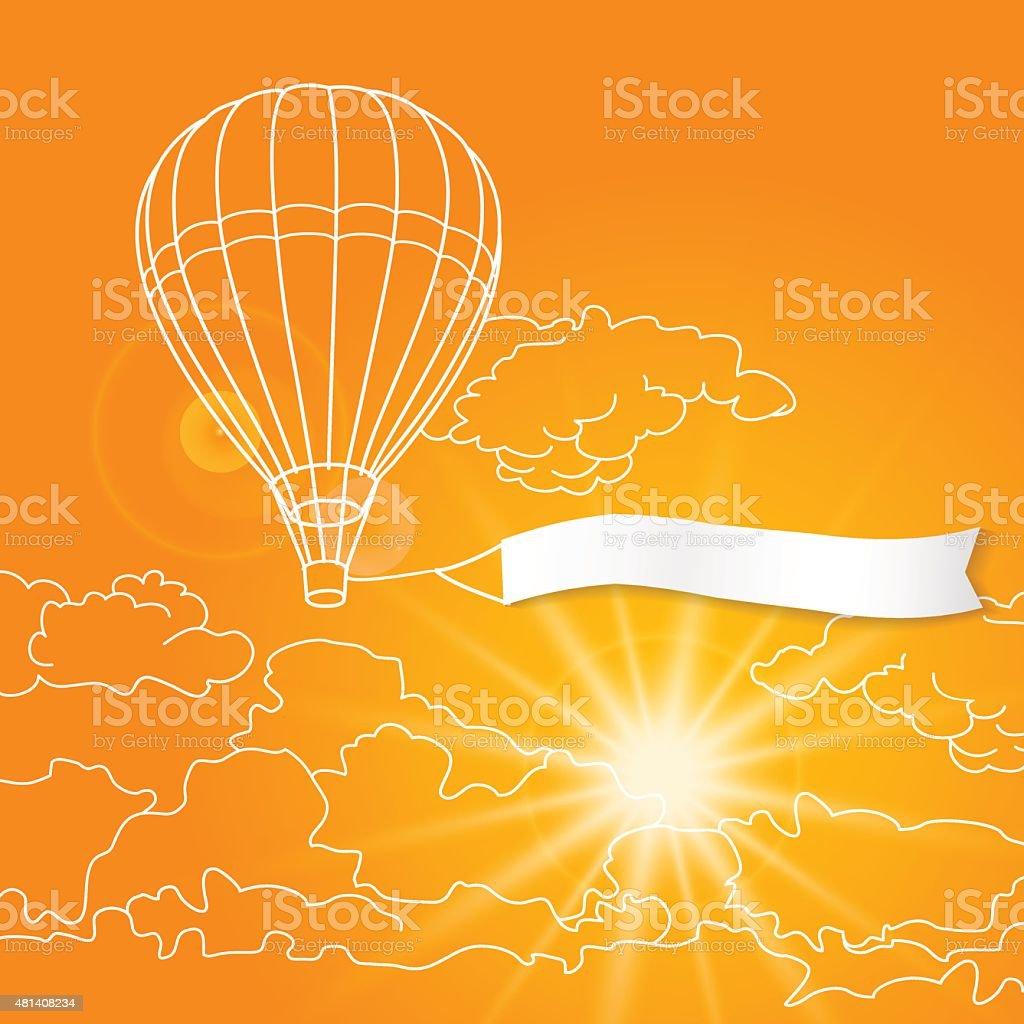 Balão com o banner em branco voando na ensolarada laranja vetor e ilustração royalty-free royalty-free