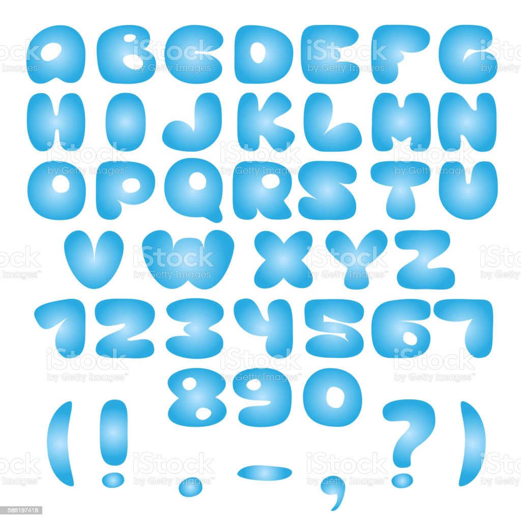 Air blue Alphabet vector art illustration