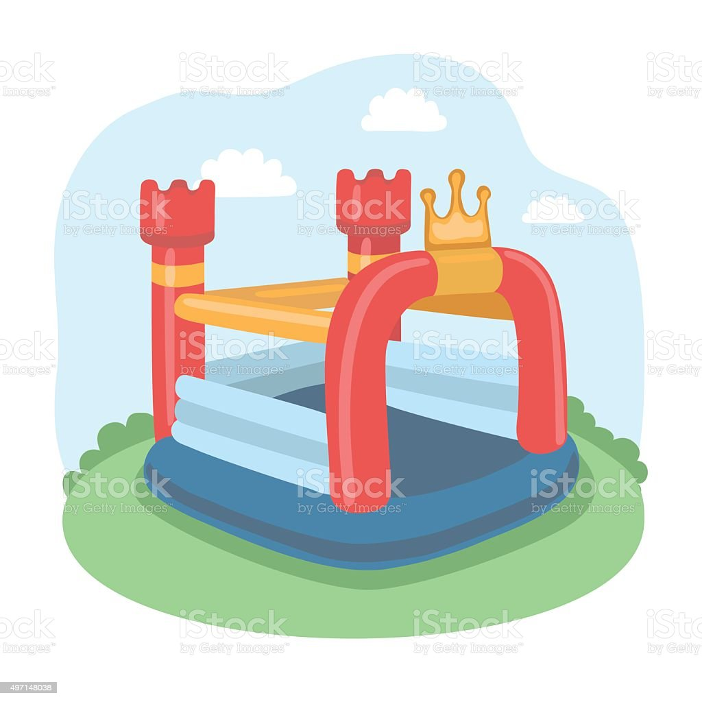 Air Bouncer Inflatable Trampoline Castl vector art illustration