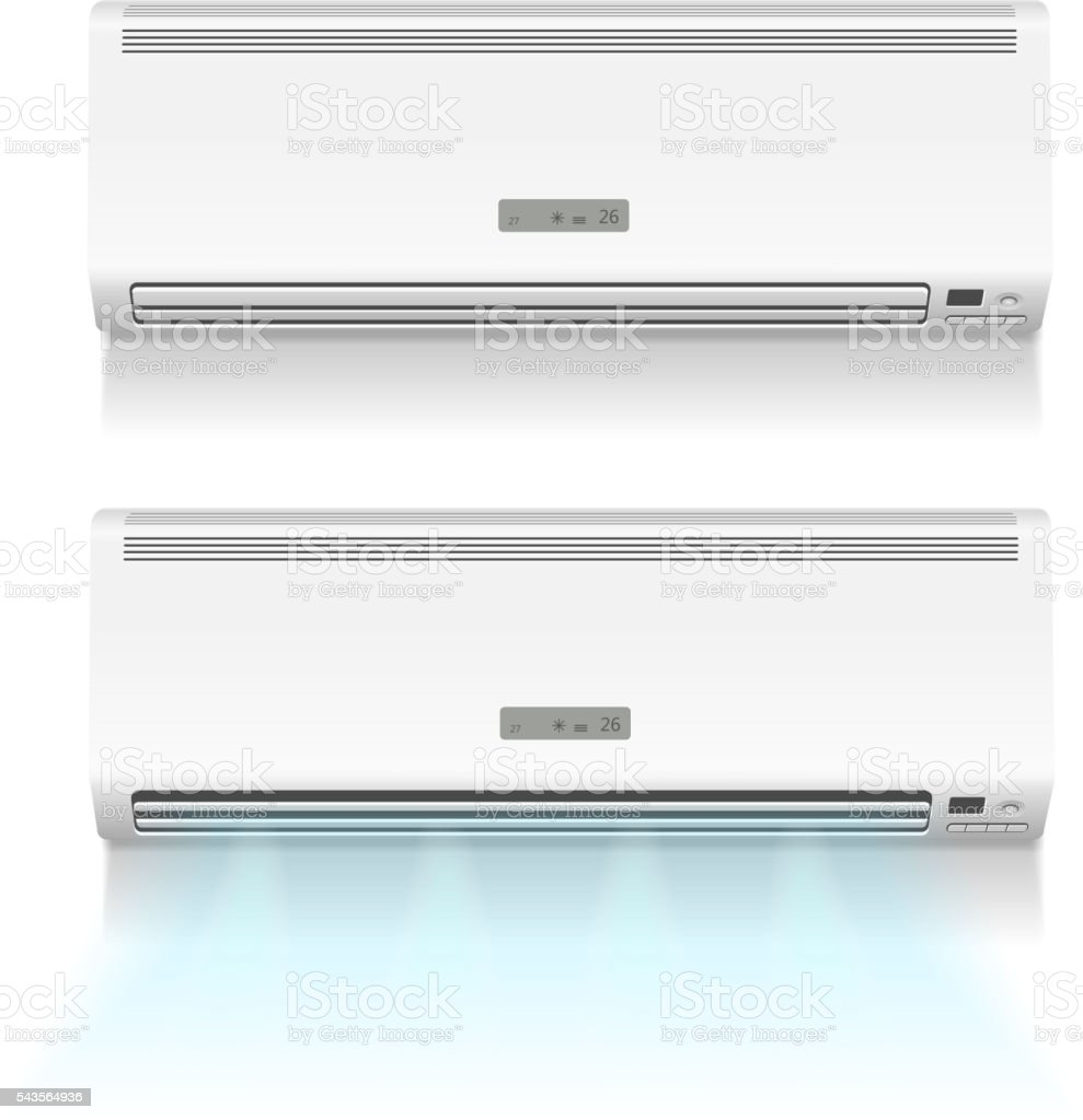 Air conditioner isolated on white photo-realistic vector vector art illustration