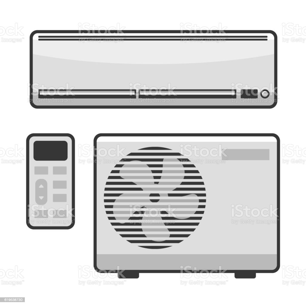 Air Conditioner Set on White Background. Vector vector art illustration
